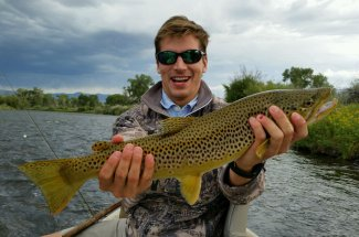 brown trout float trip drift boat fly fishing montana adventure